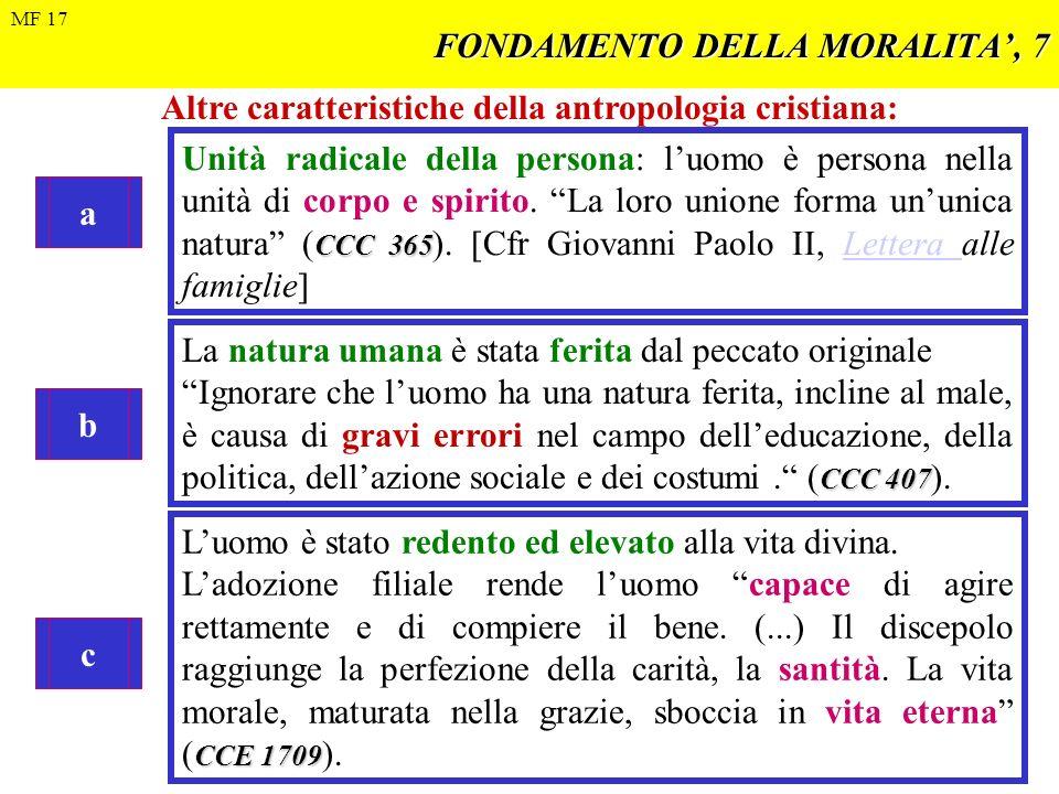 FONDAMENTO DELLA MORALITA, 7 Altre caratteristiche della antropologia cristiana: a CCC 365 Unità radicale della persona: luomo è persona nella unità d