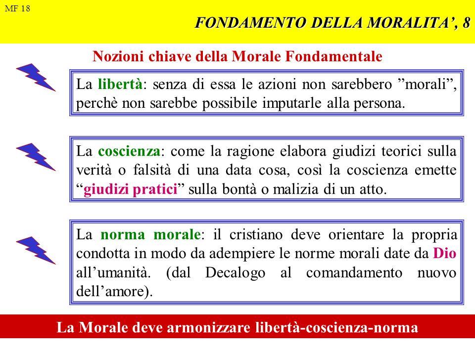 FONDAMENTO DELLA MORALITA, 8 Nozioni chiave della Morale Fondamentale La libertà: senza di essa le azioni non sarebbero morali, perchè non sarebbe pos