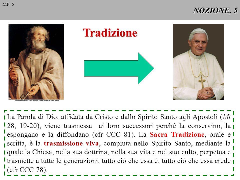 NOZIONE, 5 Tradizione La Parola di Dio, affidata da Cristo e dallo Spirito Santo agli Apostoli (Mt 28, 19-20), viene trasmessa ai loro successori perc