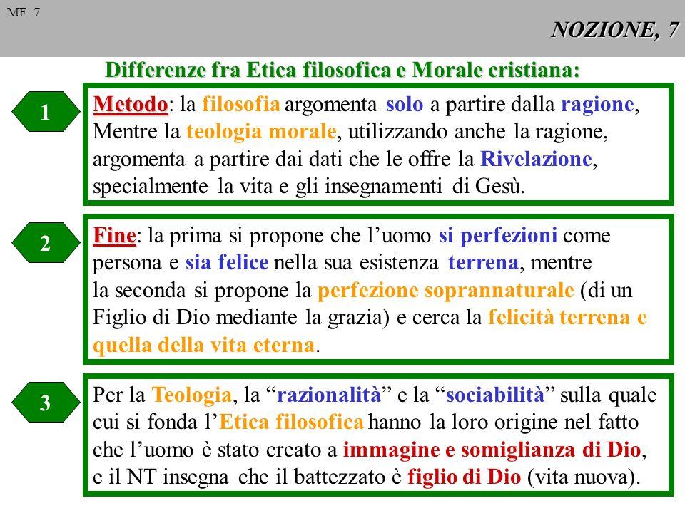NOZIONE, 7 Differenze fra Etica filosofica e Morale cristiana: 1 2 3 Metodo Metodo: la filosofia argomenta solo a partire dalla ragione, Mentre la teo