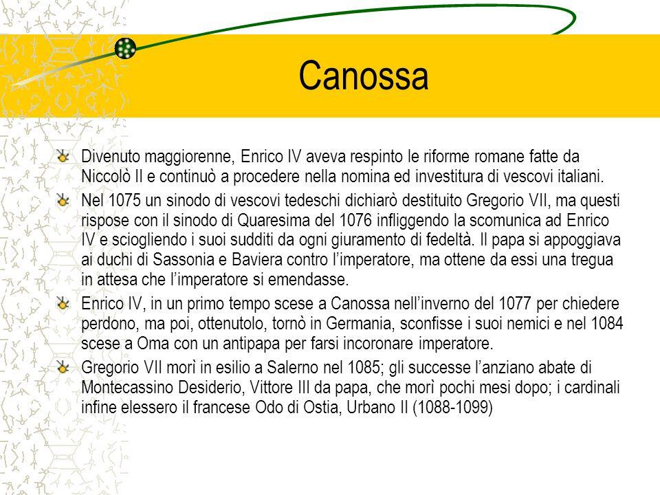 Canossa Divenuto maggiorenne, Enrico IV aveva respinto le riforme romane fatte da Niccolò II e continuò a procedere nella nomina ed investitura di vescovi italiani.