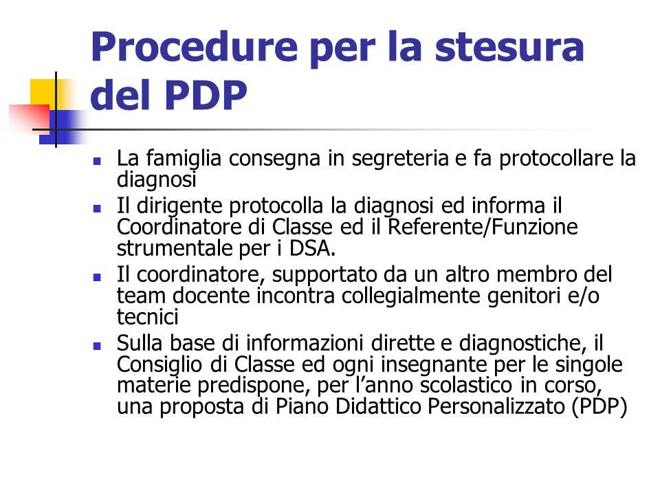Procedure per la stesura del PDP La famiglia consegna in segreteria e fa protocollare la diagnosi Il dirigente protocolla la diagnosi ed informa il Coordinatore di Classe ed il Referente/Funzione strumentale per i DSA.