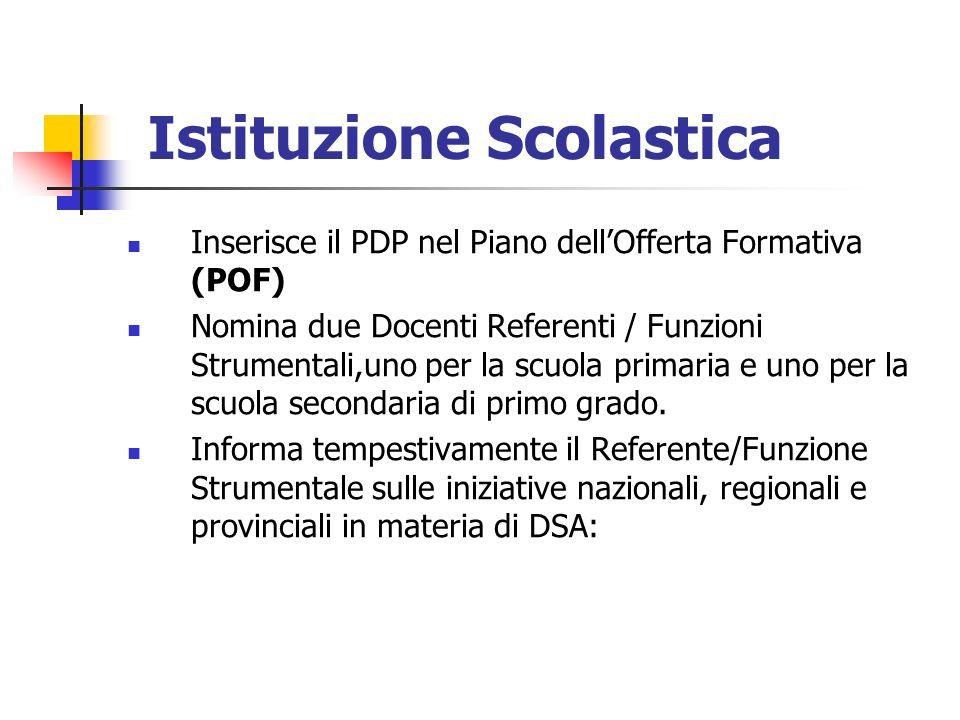 Istituzione Scolastica Inserisce il PDP nel Piano dellOfferta Formativa (POF) Nomina due Docenti Referenti / Funzioni Strumentali,uno per la scuola primaria e uno per la scuola secondaria di primo grado.