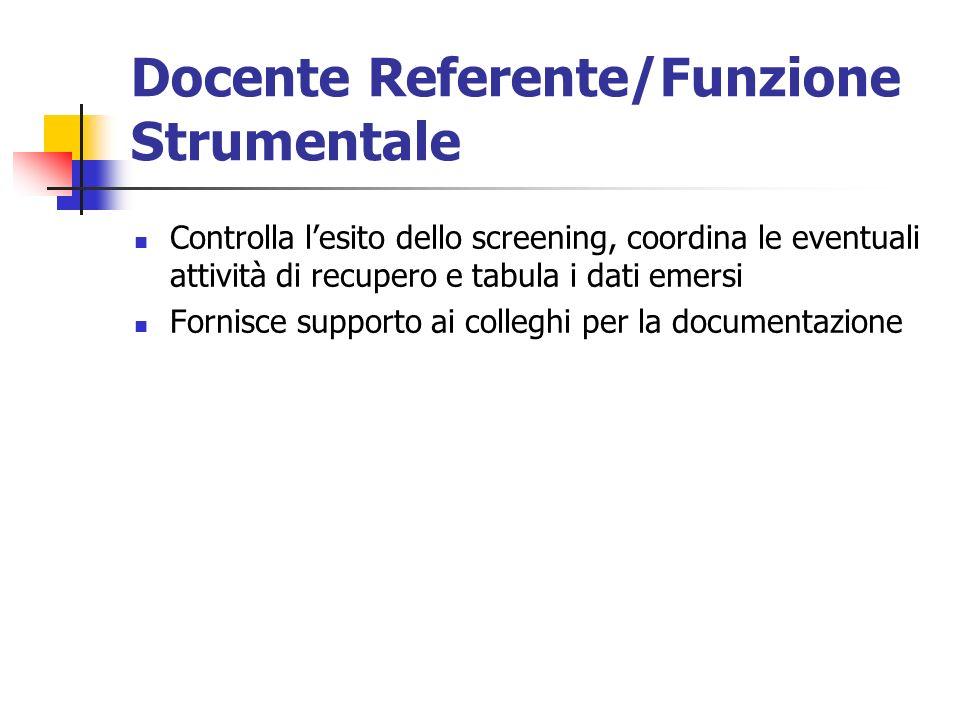 Docente Referente/Funzione Strumentale Controlla lesito dello screening, coordina le eventuali attività di recupero e tabula i dati emersi Fornisce supporto ai colleghi per la documentazione