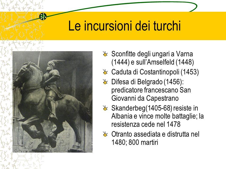 Le incursioni dei turchi Sconfitte degli ungari a Varna (1444) e sullAmselfeld (1448) Caduta di Costantinopoli (1453) Difesa di Belgrado (1456): predi