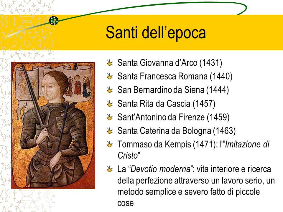 Santi dellepoca Santa Giovanna dArco (1431) Santa Francesca Romana (1440) San Bernardino da Siena (1444) Santa Rita da Cascia (1457) SantAntonino da F
