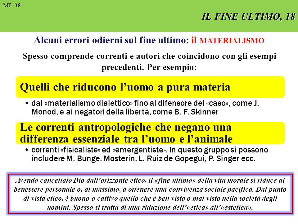 FIN ULTIMO, 8 MF 22 de 97 IL FINE ULTIMO, 18 MF 38 Alcuni errori odierni sul fine ultimo: il MATERIALISMO Spesso comprende correnti e autori che coincidono con gli esempi precedenti.