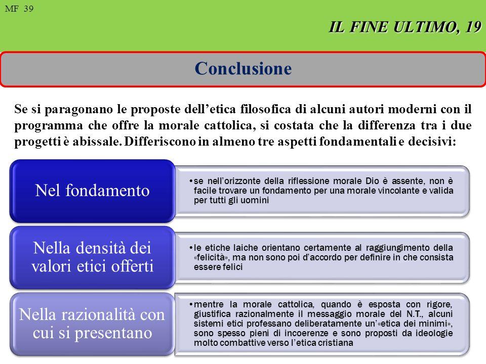 FIN ULTIMO, 8 MF 22 de 97 IL FINE ULTIMO, 19 MF 39 Conclusione Se si paragonano le proposte delletica filosofica di alcuni autori moderni con il programma che offre la morale cattolica, si costata che la differenza tra i due progetti è abissale.