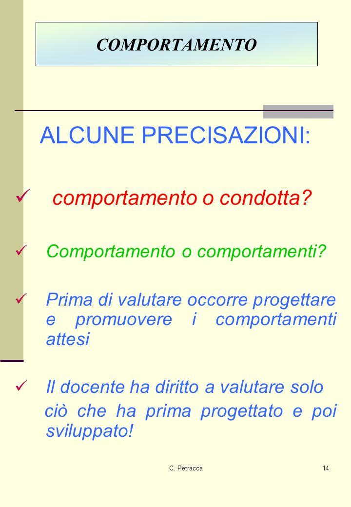 C.Petracca14 ALCUNE PRECISAZIONI: comportamento o condotta.