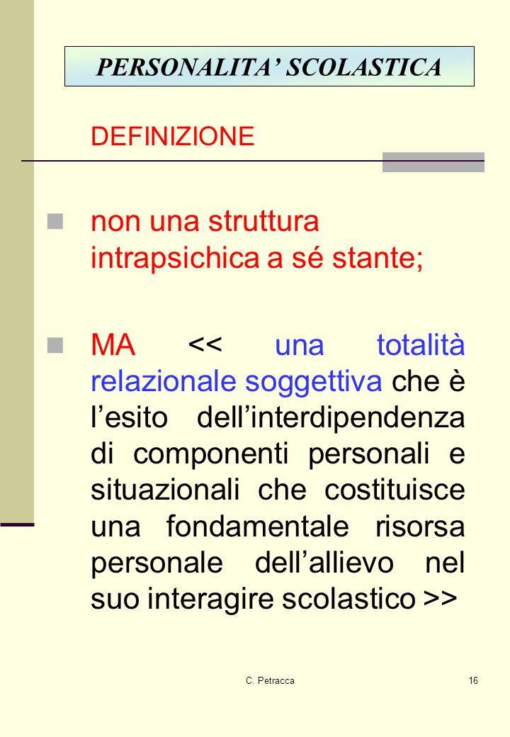 C. Petracca16 DEFINIZIONE non una struttura intrapsichica a sé stante; MA > PERSONALITA SCOLASTICA