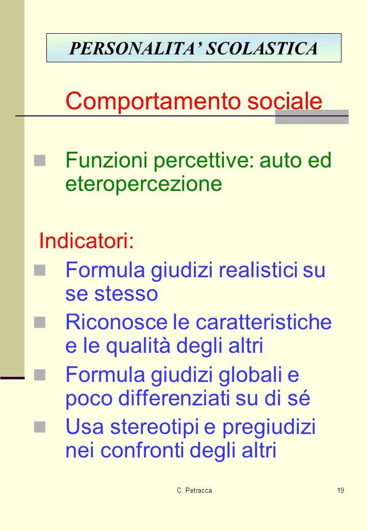 C. Petracca19 Comportamento sociale Funzioni percettive: auto ed eteropercezione Indicatori: Formula giudizi realistici su se stesso Riconosce le cara
