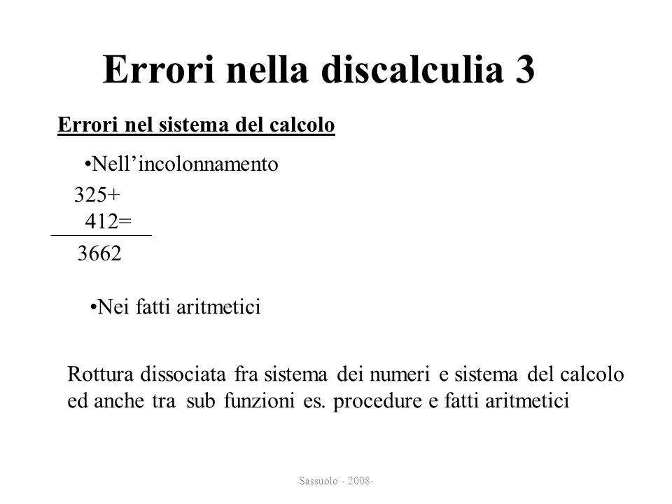 Sassuolo - 2008- Errori nella discalculia 3 Nellincolonnamento Errori nel sistema del calcolo 325+ 412= 3662 Nei fatti aritmetici Rottura dissociata f