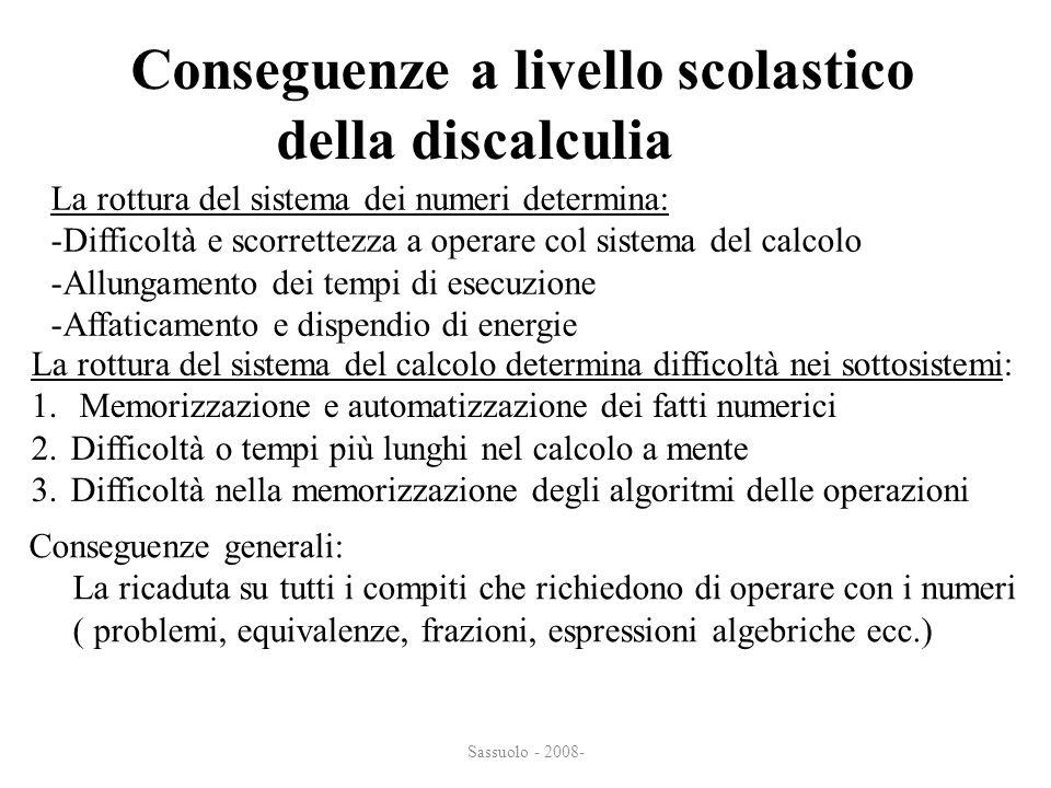 Sassuolo - 2008- Conseguenze a livello scolastico della discalculia della discalculia La rottura del sistema dei numeri determina: -Difficoltà e scorr