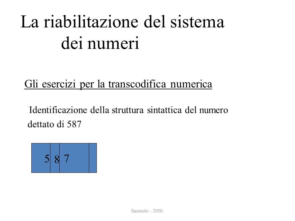 La riabilitazione del sistema dei numeri dei numeri Gli esercizi per la transcodifica numerica Identificazione della struttura sintattica del numero 5