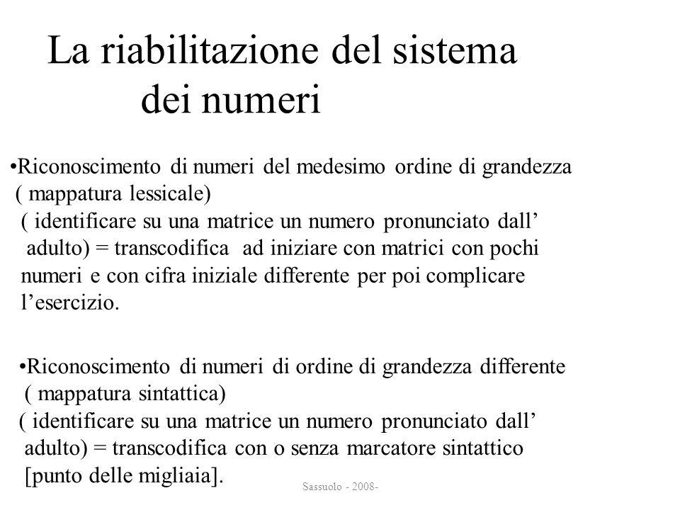 Sassuolo - 2008- La riabilitazione del sistema dei numeri dei numeri Riconoscimento di numeri del medesimo ordine di grandezza ( mappatura lessicale)