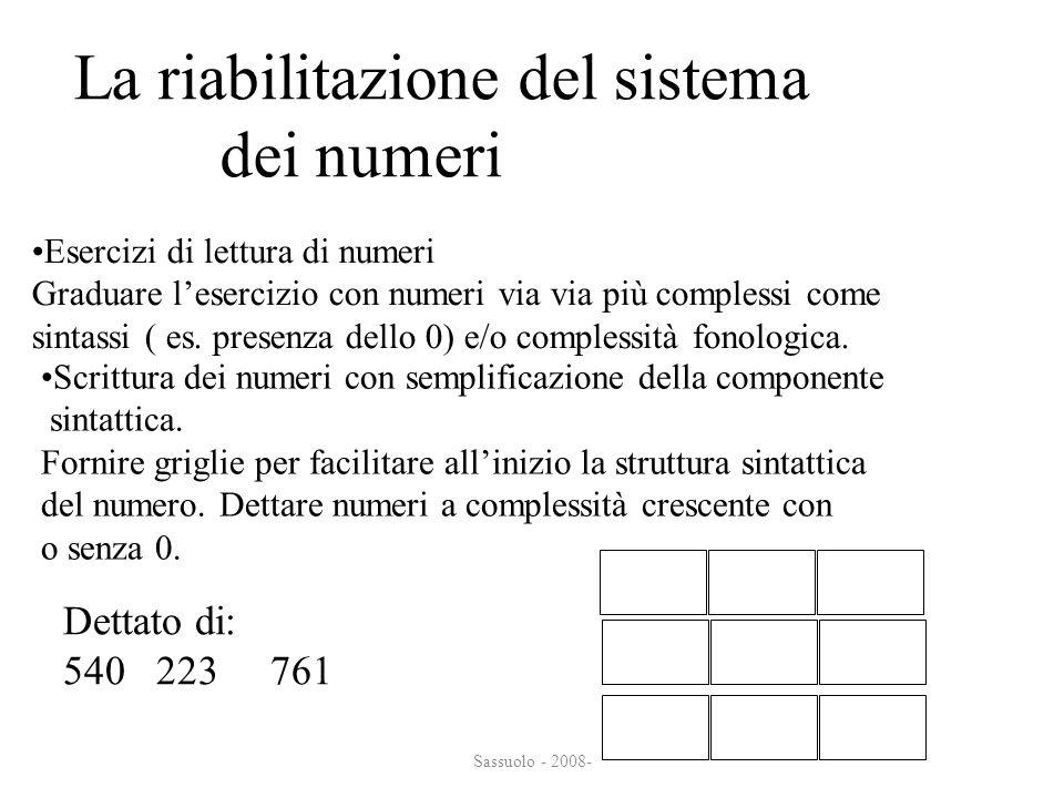 Sassuolo - 2008- La riabilitazione del sistema dei numeri dei numeri Esercizi di lettura di numeri Graduare lesercizio con numeri via via più compless