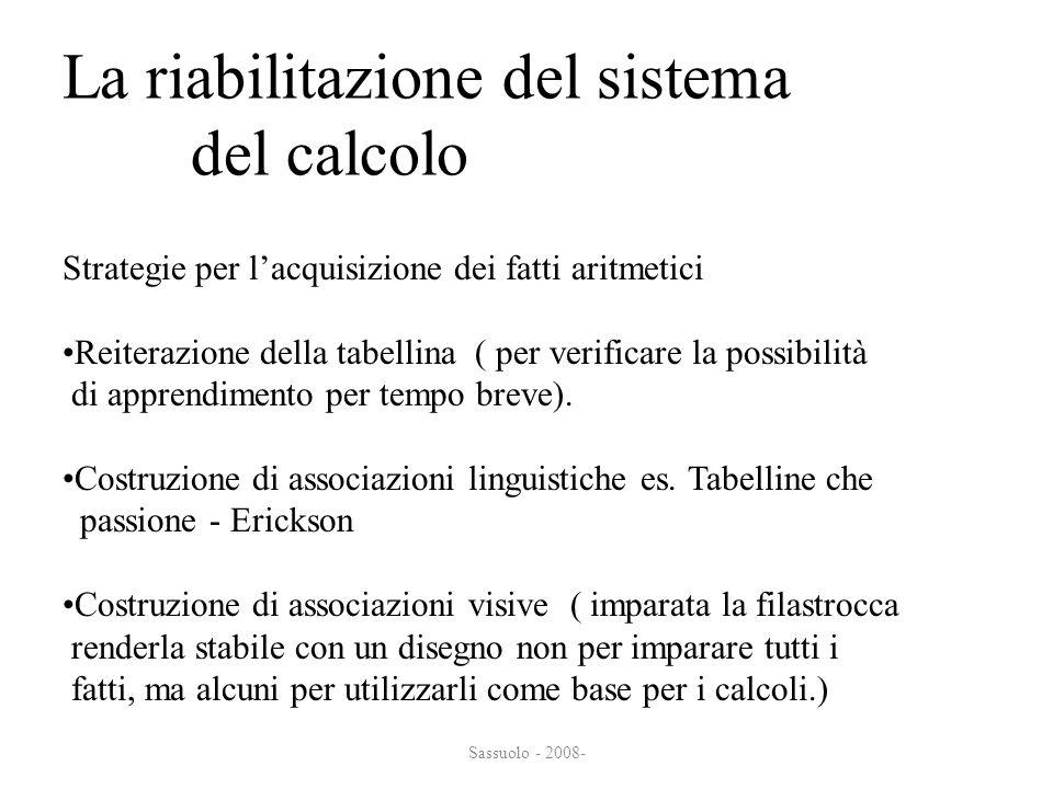 La riabilitazione del sistema del calcolo del calcolo Strategie per lacquisizione dei fatti aritmetici Reiterazione della tabellina ( per verificare l