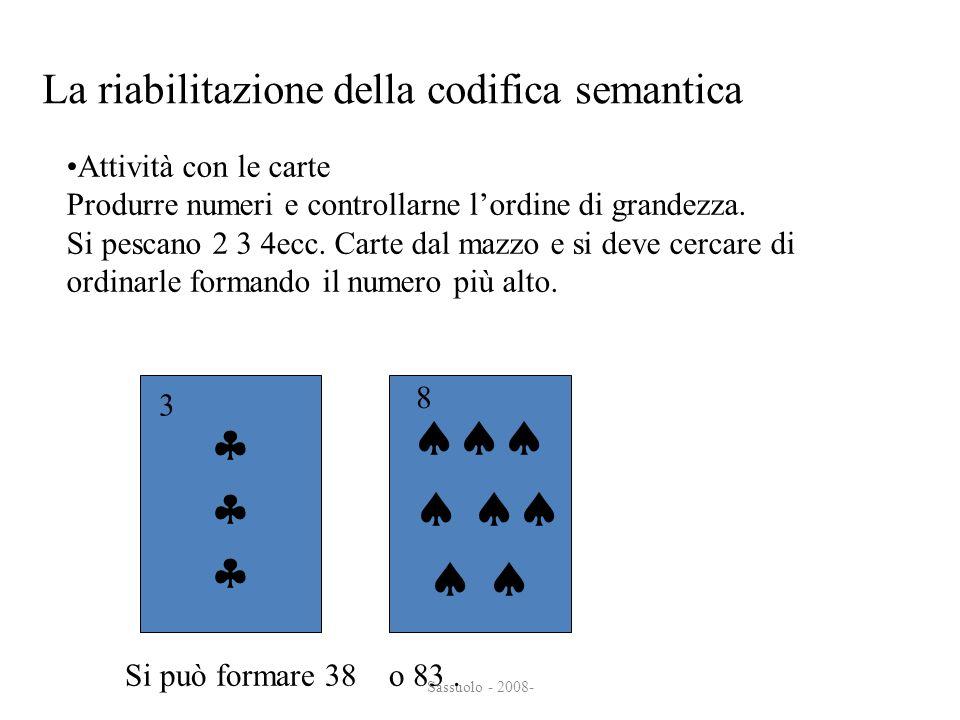 Sassuolo - 2008- La riabilitazione della codifica semantica Attività con le carte Produrre numeri e controllarne lordine di grandezza. Si pescano 2 3