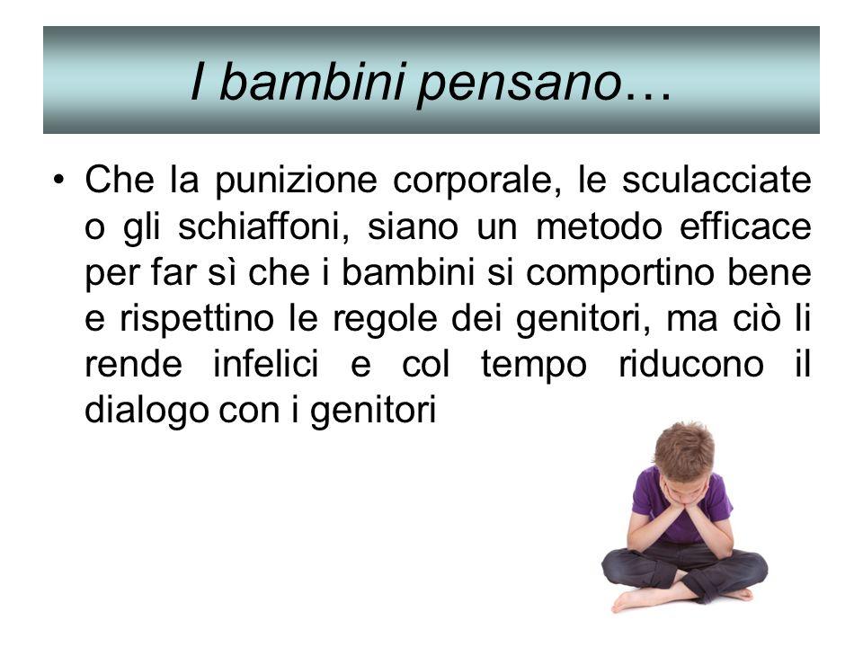 I bambini pensano… Che la punizione corporale, le sculacciate o gli schiaffoni, siano un metodo efficace per far sì che i bambini si comportino bene e
