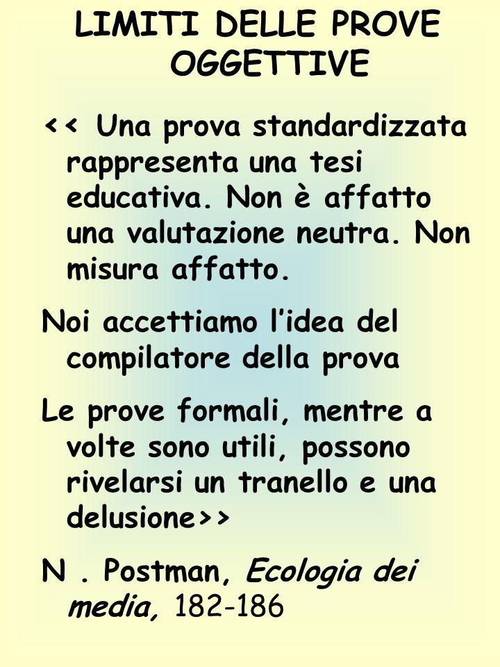 LIMITI DELLE PROVE OGGETTIVE << Una prova standardizzata rappresenta una tesi educativa.