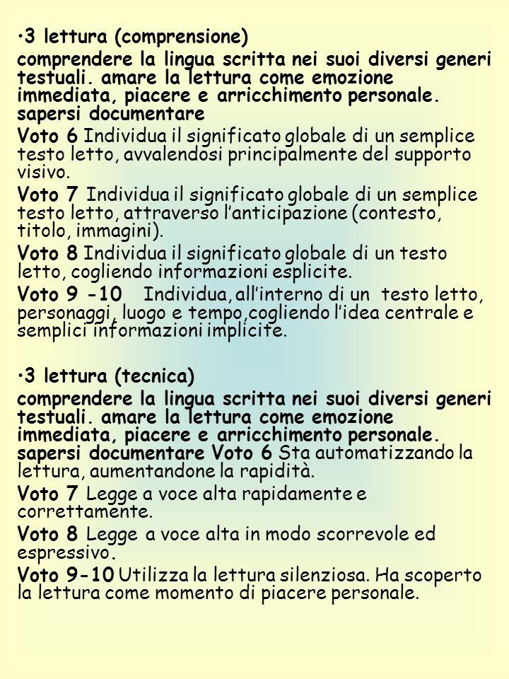 3 lettura (comprensione) comprendere la lingua scritta nei suoi diversi generi testuali.