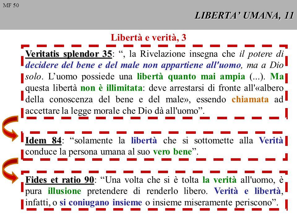 LIBERTA UMANA, 11 Libertà e verità, 3 Veritatis splendor 35 Veritatis splendor 35:, la Rivelazione insegna che il potere di decidere del bene e del ma