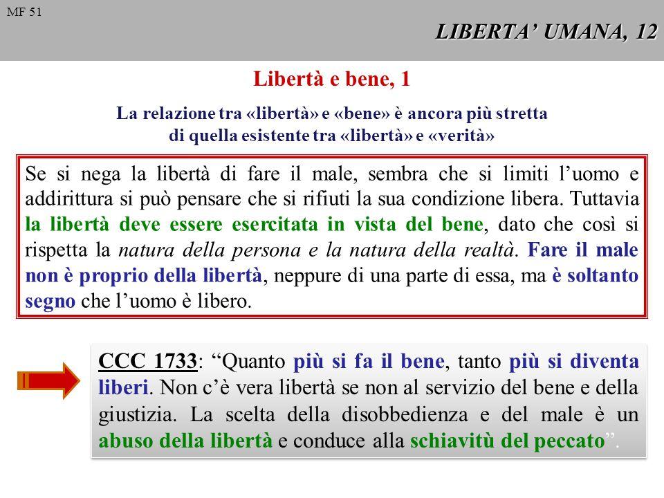 LIBERTA UMANA, 12 Libertà e bene, 1 Se si nega la libertà di fare il male, sembra che si limiti luomo e addirittura si può pensare che si rifiuti la s