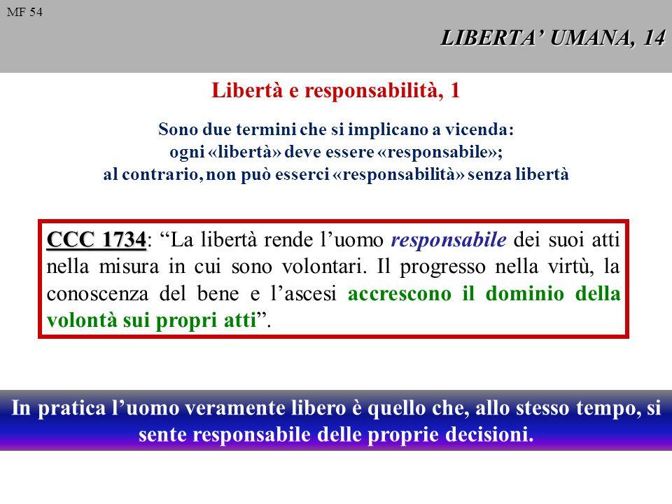 LIBERTA UMANA, 14 CCC 1734 CCC 1734: La libertà rende luomo responsabile dei suoi atti nella misura in cui sono volontari. Il progresso nella virtù, l