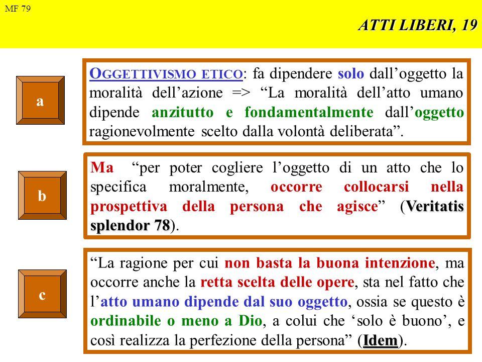 ATTI LIBERI, 20 Esempi Per le correnti etiche denominate TELEOLOGICHE (telos = fin), la moralità deriva dal fine per cui si agisce.