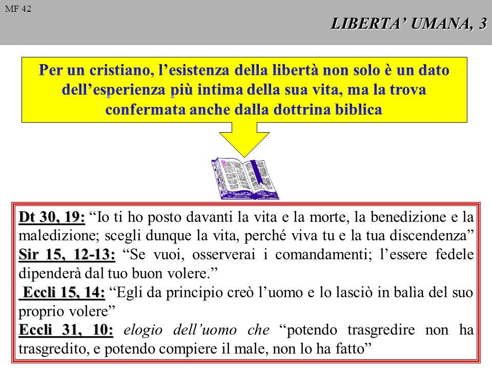 Dt 30, 19: Sir 15, 12-13: Dt 30, 19: Io ti ho posto davanti la vita e la morte, la benedizione e la maledizione; scegli dunque la vita, perché viva tu