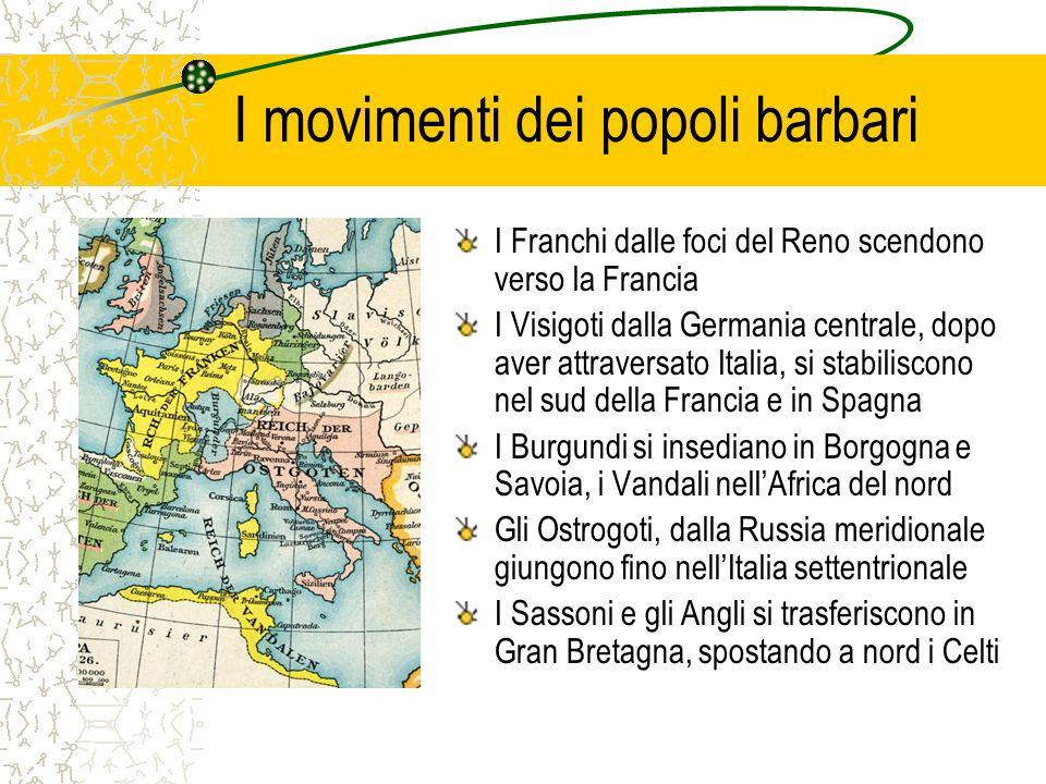 I movimenti dei popoli barbari I Franchi dalle foci del Reno scendono verso la Francia I Visigoti dalla Germania centrale, dopo aver attraversato Ital