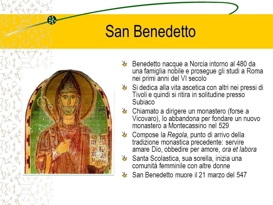 San Benedetto Benedetto nacque a Norcia intorno al 480 da una famiglia nobile e prosegue gli studi a Roma nei primi anni del VI secolo Si dedica alla