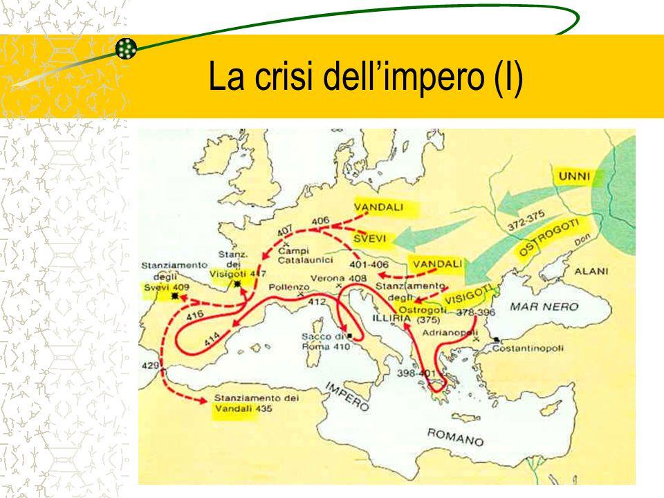 Linvasione dei Longobardi (I) Dalla bassa Scandinavia migrano molto lentamente verso sud stanziandosi ed est di Vienna alla fine del V secolo Alboino nel 568 inizia linvasione dellItalia e nel giro di tre anni conquista progressivamente le città del nord, ponendo la capitale a Pavia Ucciso da Rosmunda nel 572, gli succede Clefi e poi inizia un periodo di duchi Teodolinda, cattolica, figlia del re dei Bavari, sposa Autari nel 590 e quindi Agilulfo, suo successore, nello stesso anno e favorisce una progressiva conversione dallarianesimo Lenta fusione tra longobardi e romani