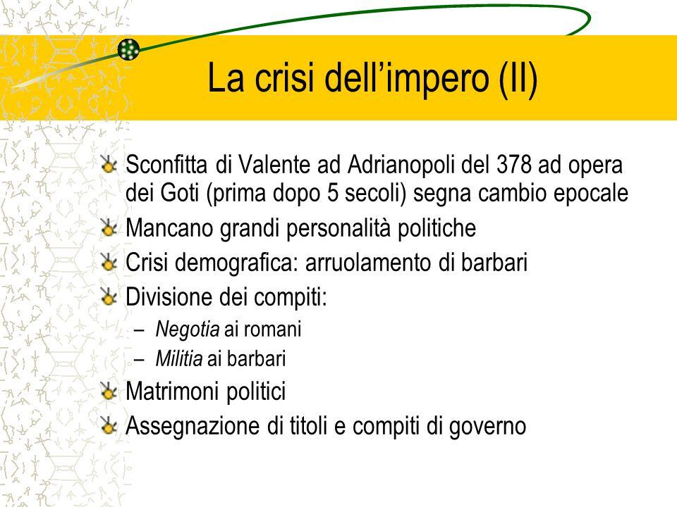 La crisi dellimpero (II) Sconfitta di Valente ad Adrianopoli del 378 ad opera dei Goti (prima dopo 5 secoli) segna cambio epocale Mancano grandi perso