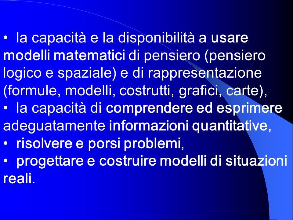 la capacità e la disponibilità a usare modelli matematici di pensiero (pensiero logico e spaziale) e di rappresentazione (formule, modelli, costrutti,