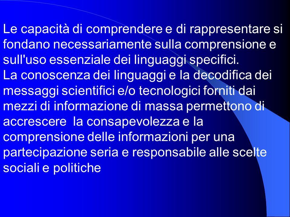 Le capacità di comprendere e di rappresentare si fondano necessariamente sulla comprensione e sull'uso essenziale dei linguaggi specifici. La conoscen