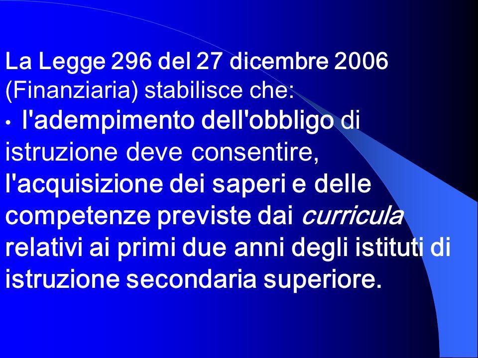 La Legge 296 del 27 dicembre 2006 (Finanziaria) stabilisce che: l'adempimento dell'obbligo di istruzione deve consentire, l'acquisizione dei saperi e