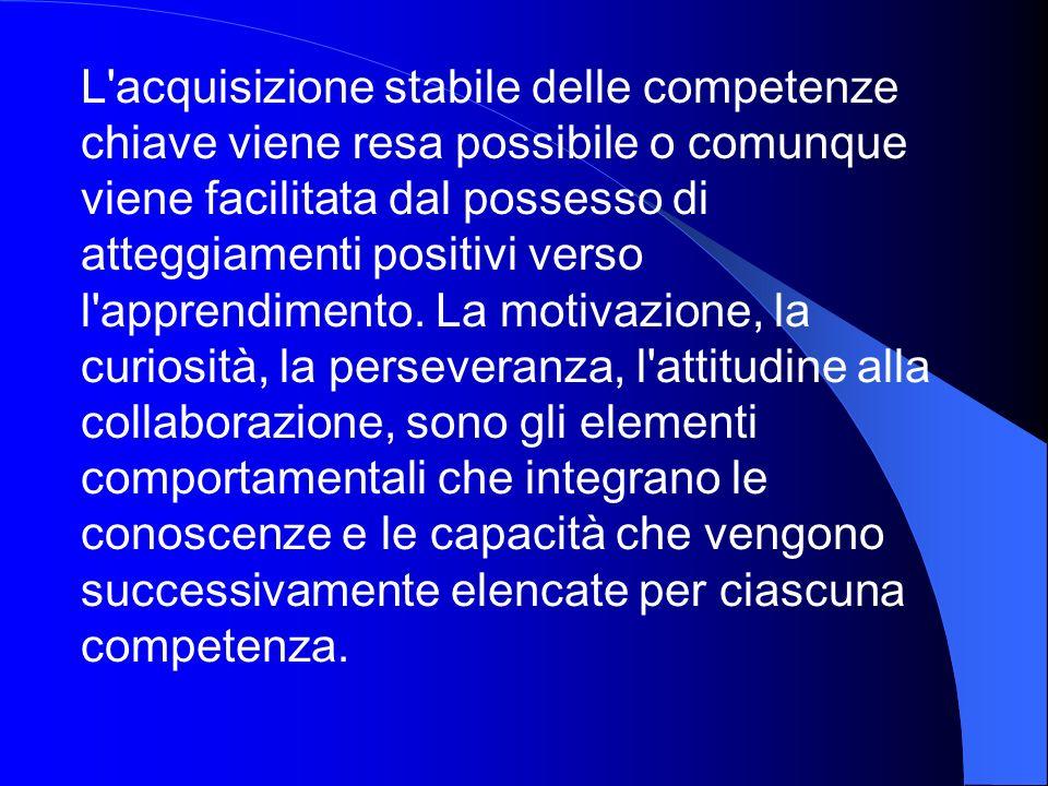 L'acquisizione stabile delle competenze chiave viene resa possibile o comunque viene facilitata dal possesso di atteggiamenti positivi verso l'apprend