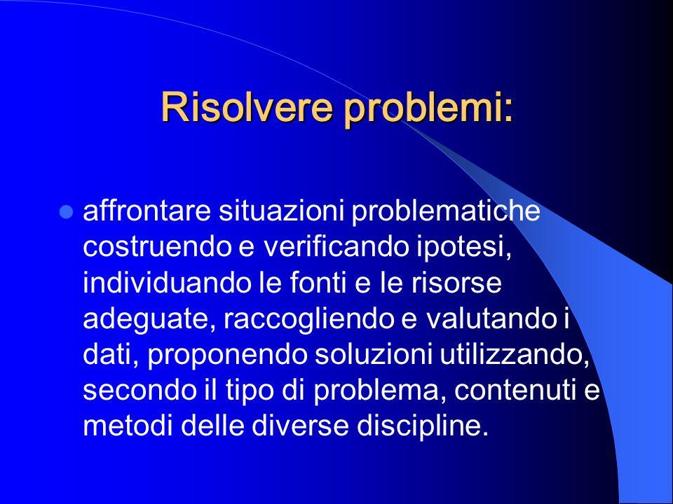 Risolvere problemi: affrontare situazioni problematiche costruendo e verificando ipotesi, individuando le fonti e le risorse adeguate, raccogliendo e