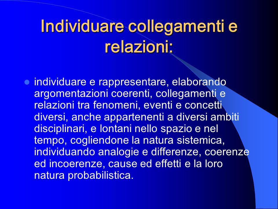 Individuare collegamenti e relazioni: individuare e rappresentare, elaborando argomentazioni coerenti, collegamenti e relazioni tra fenomeni, eventi e