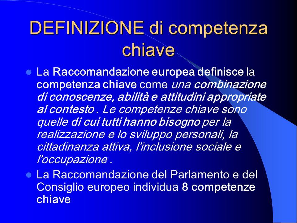 DEFINIZIONE di competenza chiave La Raccomandazione europea definisce la competenza chiave come una combinazione di conoscenze, abilità e attitudini a