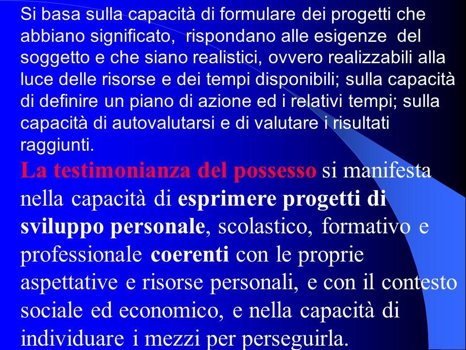 Si basa sulla capacità di formulare dei progetti che abbiano significato, rispondano alle esigenze del soggetto e che siano realistici, ovvero realizz