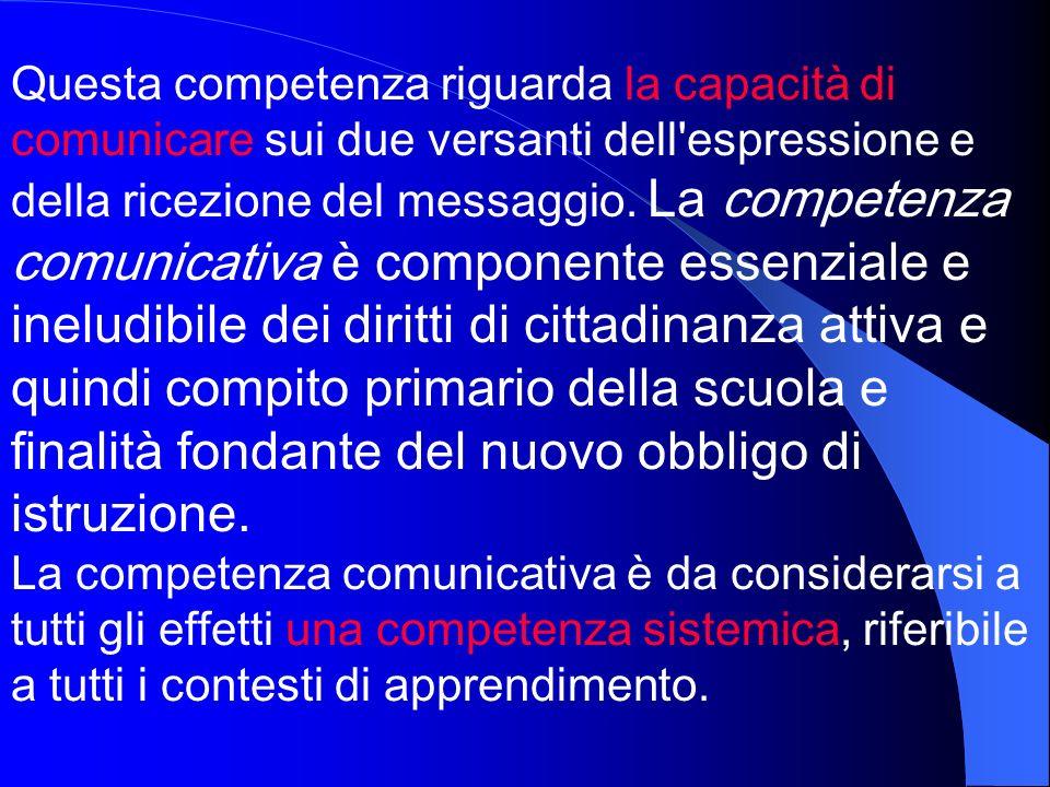Questa competenza riguarda la capacità di comunicare sui due versanti dell'espressione e della ricezione del messaggio. La competenza comunicativa è c