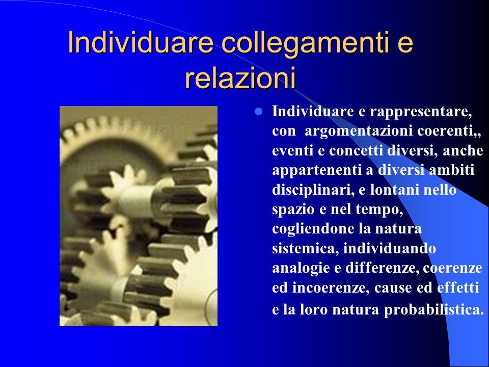 Individuare collegamenti e relazioni Individuare e rappresentare, con argomentazioni coerenti,, eventi e concetti diversi, anche appartenenti a divers