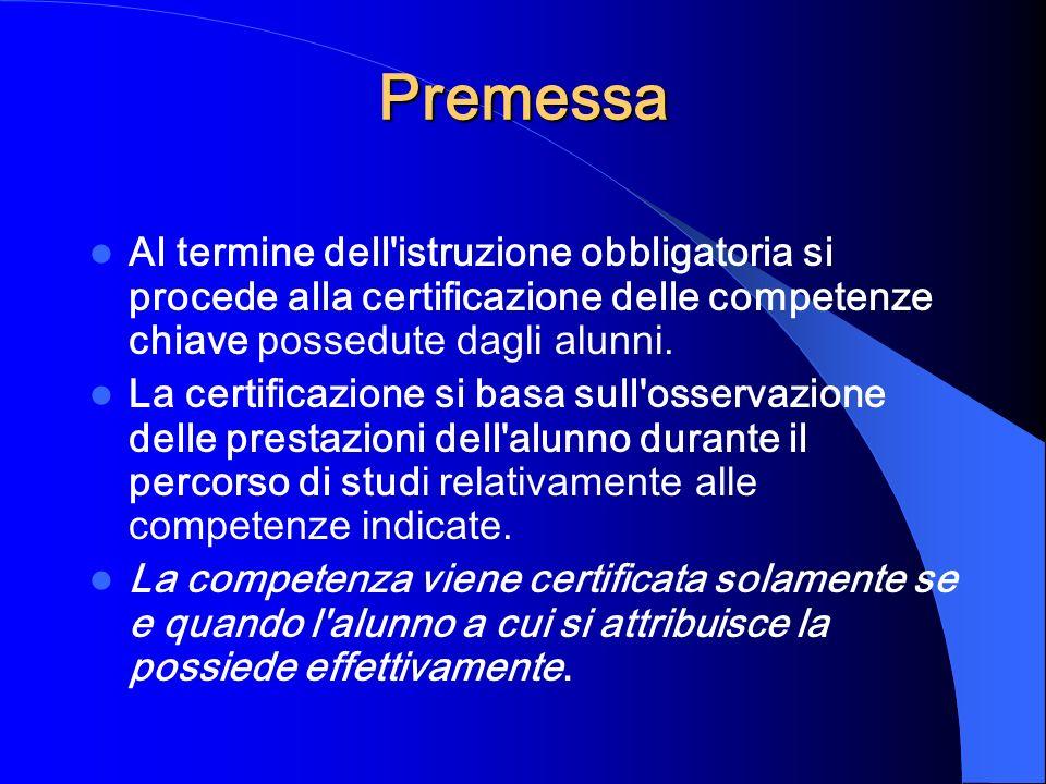 Premessa Al termine dell'istruzione obbligatoria si procede alla certificazione delle competenze chiave possedute dagli alunni. La certificazione si b