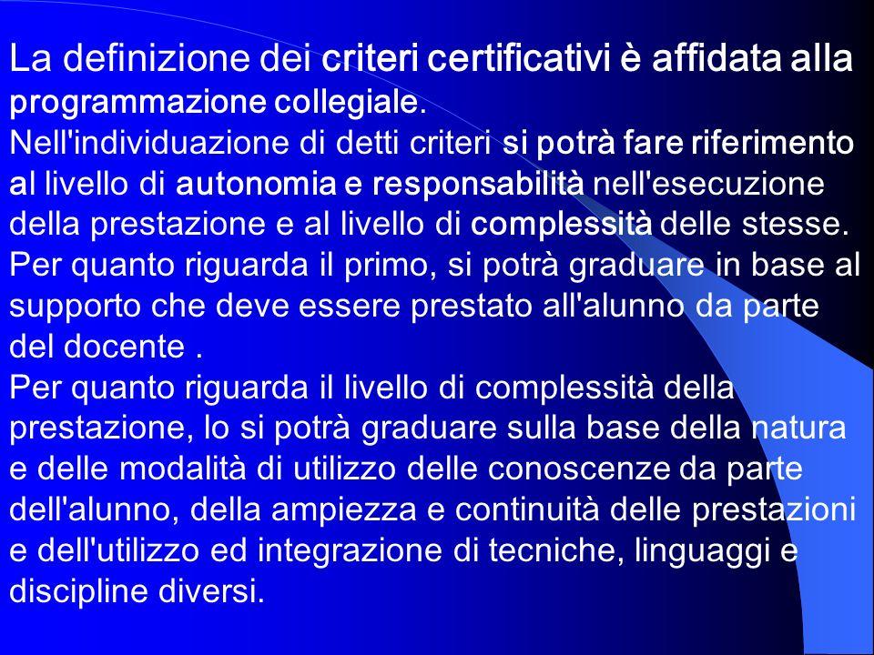 La definizione dei criteri certificativi è affidata alla programmazione collegiale. Nell'individuazione di detti criteri si potrà fare riferimento al