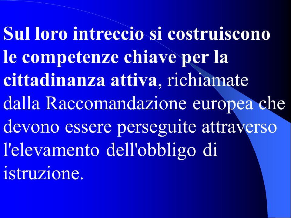 Sul loro intreccio si costruiscono le competenze chiave per la cittadinanza attiva, richiamate dalla Raccomandazione europea che devono essere persegu