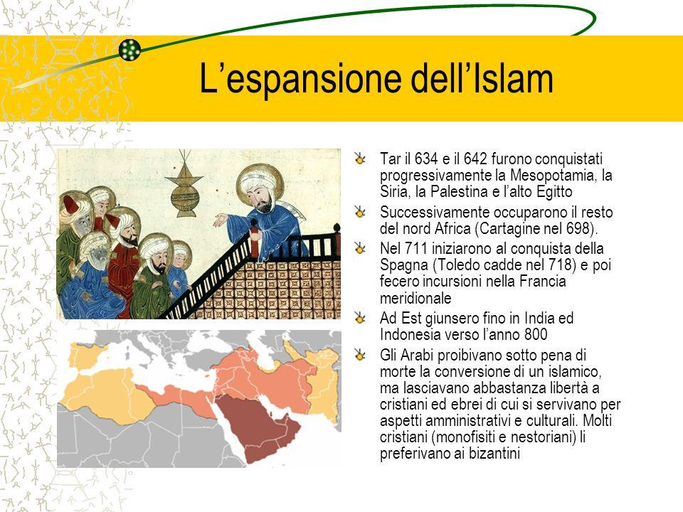 Lespansione dellIslam Tar il 634 e il 642 furono conquistati progressivamente la Mesopotamia, la Siria, la Palestina e lalto Egitto Successivamente oc