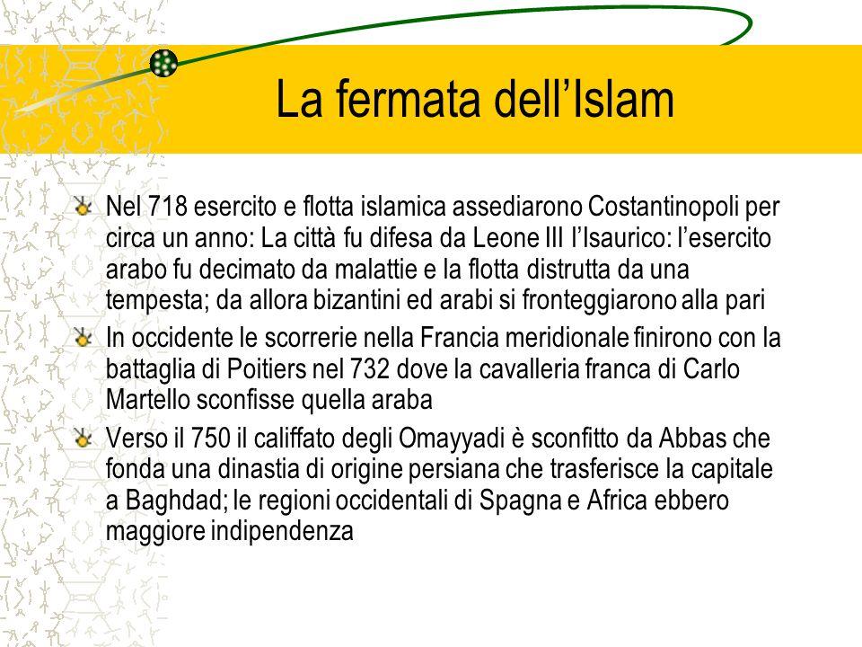 La fermata dellIslam Nel 718 esercito e flotta islamica assediarono Costantinopoli per circa un anno: La città fu difesa da Leone III lIsaurico: leser