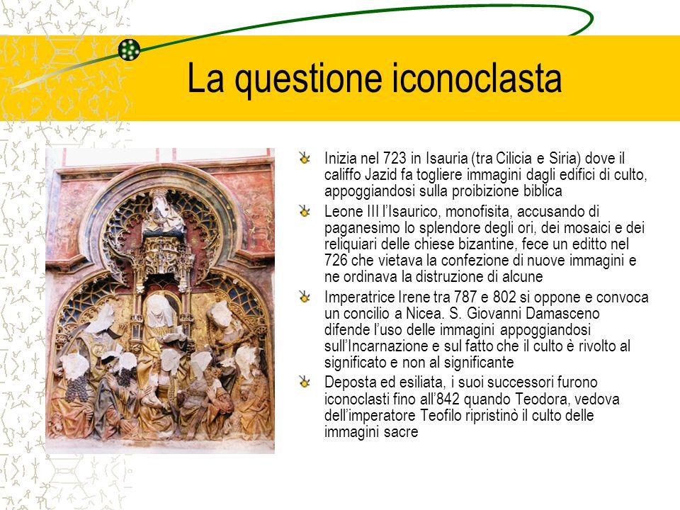 La questione iconoclasta Inizia nel 723 in Isauria (tra Cilicia e Siria) dove il califfo Jazid fa togliere immagini dagli edifici di culto, appoggiand